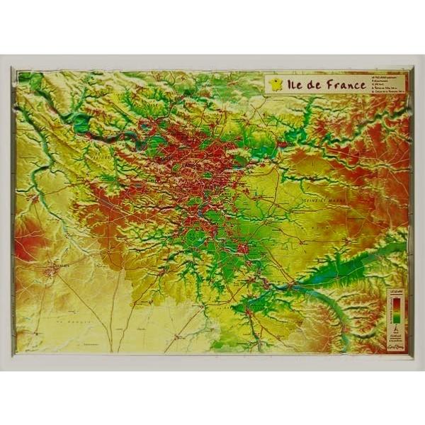 Carte en relief de l'Ile de France - GeoRelief