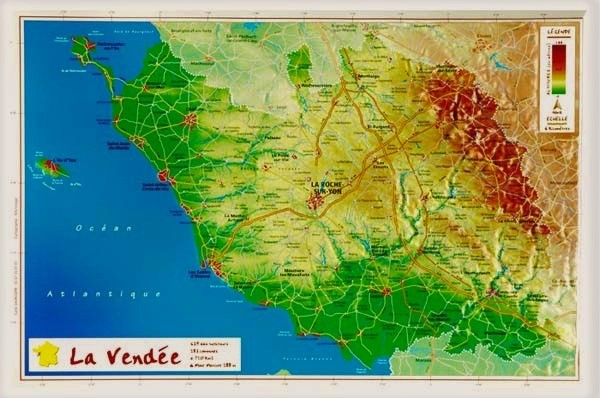 Carte en relief de Vendée (85) - GeoRelief