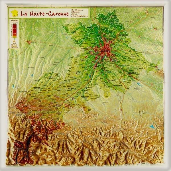 Carte en relief de la Haute Garonne 31 - GeoRelief