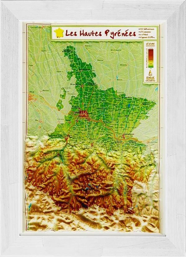 Carte En Relief Des Hautes Pyrenees Encadree Georelief