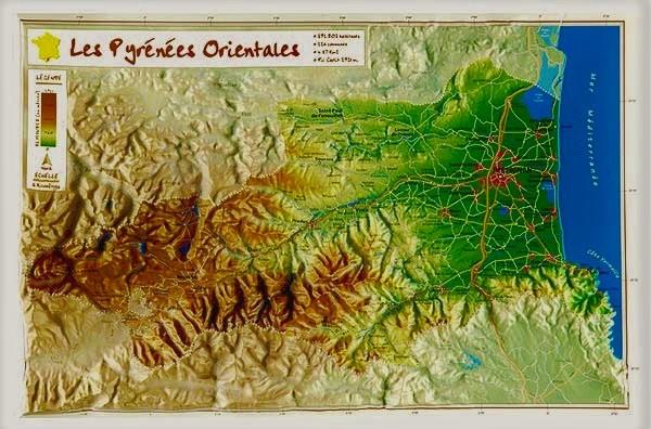 Carte En Relief Des Pyrenees Orientales 66 Georelief