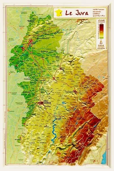 Carte En Relief Du Jura 39 Georelief