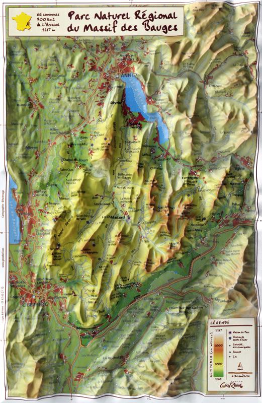 massif des bauges carte Carte en relief du Massif des Bauges   GeoRelief